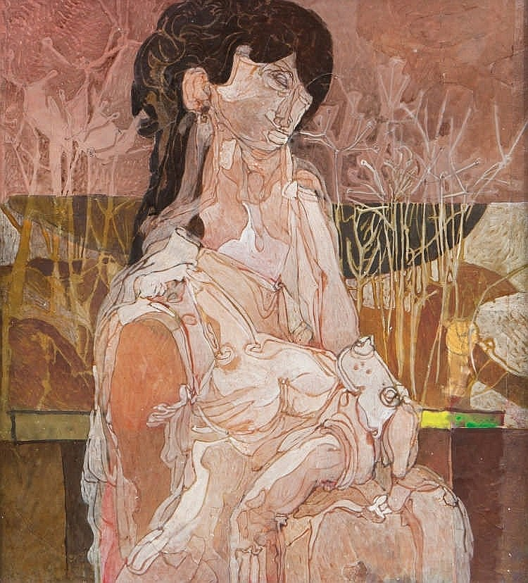 Nevill Johnson (1911-1999)  Figure with Dog  Oil on paper, 56 x 50cm