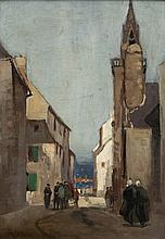 Norman Garstin (1847-1926) Figures in a Breton Streetscape Oil on panel, 34