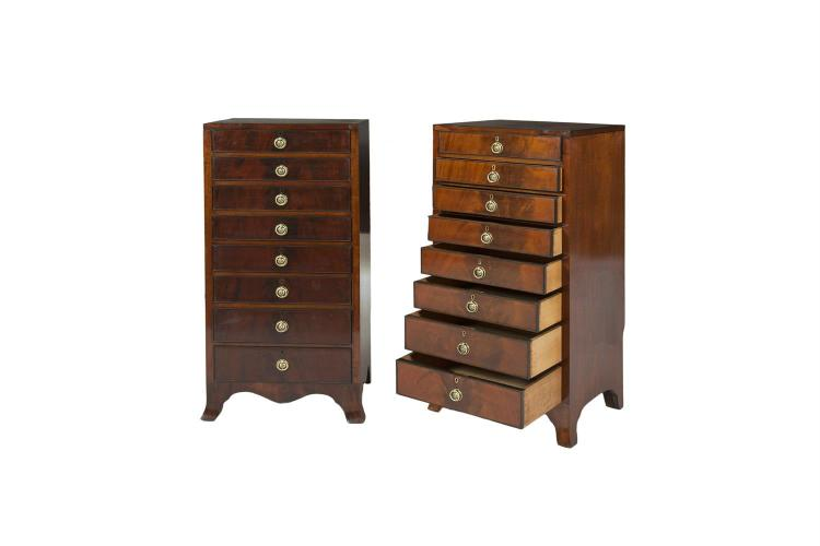 A pair of 19th century mahogany tall compact pedestal chests for Asian furniture tottenham court road