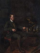 Eva Henrietta Hamilton (1876-1960)Gentleman Seated in an Interior with Scientific InstrumentsOil on canvas, 81.5 x 61cm (32 x 24'')Signed with initials