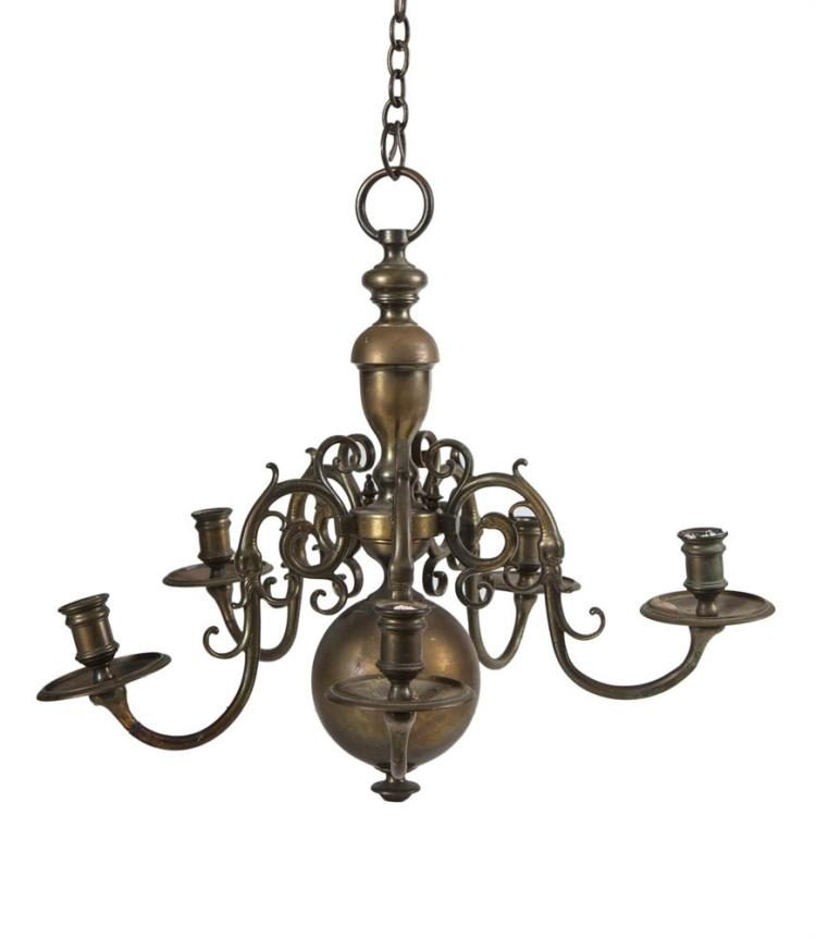 A dutch brass framed five branch chandelier in 17th century - Chandelier a 5 branches ...