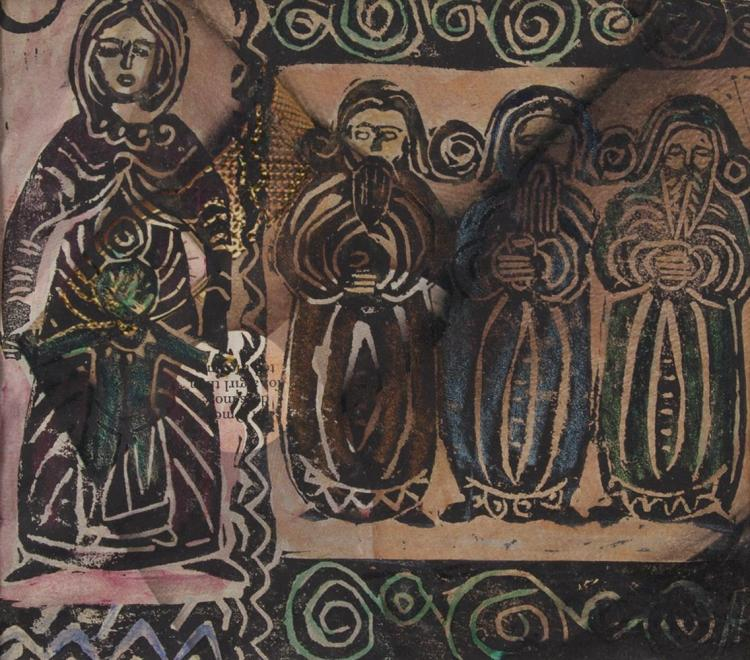 Phil Rafferty (1919-1996)The Virgin Mary and Three Wise Men (Christmas Card design)Linocut with hand colouring, 18 x 20cmBearing signature of her teacher and mentor, Gerard Dillon, who obviously influenced this work.
