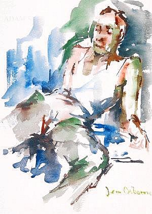 Jean Osborne Figure Reading Watercolour, 28 x
