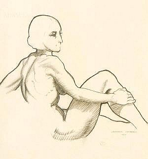 Laurence Campbell RHA (1911-1964) Seated Nude