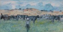 Maurice MacGonigal PRHA (1900-1979)Cows, ConnemaraWatercolour, 16 x 31cm (6¼ x 12¼'')Signed and dated (19)'78Provenance: With the Taylor Galleries, label verso.