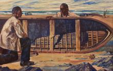 Maurice MacGonigal PRHA (1900-1979)Mending the CurrachOil on board, 80 x 121cm (31½ x 47½)Provenance: Commission for Runnymeade House; Ardbraccan House, Navan, Co MeathLots 125 and 126 were part of an early commission (1926/27) that MacGoniga