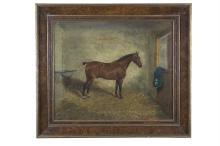 FREDRICK ALBERT CLARK (19TH CENTURY)'St. George, portrait of a racehorse'Oil on canvas, 51 x 61cmSigned