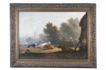 CIRCLE OF JOHN GLOVER (1767-1849)Figures by a farmstead with cattle resting in the foregroundOil on canvas, 62 x 89.5cm