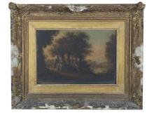 DUTCH SCHOOL (18TH CENTURY) Figures and cattle resting by the water side Oil on oak panel, 26.5 x 39cmSigned