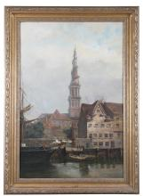 CONTINENTAL SCHOOL (LATE 19TH CENTURY)Harbour SceneOil on canvas, 75 x 50cm