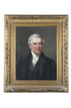 IRISH SCHOOL (C.1830)Portrait of a gentleman with black overcoat and white cravatOil on canvas, 45 x 34.5cm