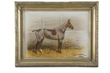 GEORGE WRIGHT (1860-1942)A Pair of Stabled Thoroughbreds With Winter ClipOil on canvas, 40 x 54.5cm eachSigned. (2)