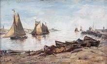 EDWIN HAYES RHA RI ROI (1819-1904)Shrimp Boats Entering Gorlston HarbourOil on board, 14  x 23cm (5½ x 9'')Signed