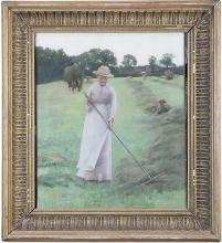 NEWLYN SCHOOL (c.1900)HaymakingOil on canvas, 50 x 40cm