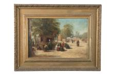 ENGLISH SCHOOL (LATE 19TH CENTURY)A market place in the outskirts of CairoOil on Winsor & Newton canvas, 35 x 52cmSigned with a monogram 'H.P'Artists label verso indistinctly inscribed 'No.1 Lantern () shop in the ... Cairo, by H. Pill..., 17 (a