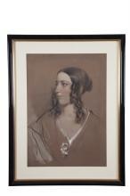 FREDERICK WILLIAM BURTON RHA (1816-1900)Portrait of a Young Woman, probably Miss Annie CallwellConté, 60 x 43cm (23¾ x 17'')Signed