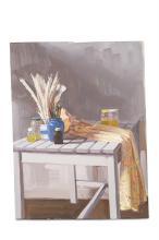 ROBBIE WRAITH (b.1952)Still life with rugOil on panel, 39 x 30cm