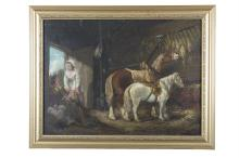ENGLISH SCHOOL (19TH CENTURY)Figures with Horses in a StableOil on canvas laid on board, 43.5 x 59cmSigned indistinctly