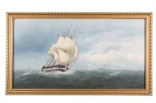 CHARLES TAYLOR (fl. 1841 - 1883)A Frigate in choppy watersWatercolour, 37 x 69cmSigned