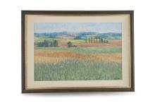 BRETT MCENTAGGART R.H.A (b.1939)'Landscape with cornfields'Oil on card, 39 x 61cm Signed lower right 'B MCE R.H.A'
