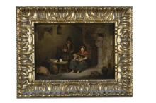 IRISH SCHOOL (19TH CENTURY)Family with Pig in Cottage InteriorOil on oak panel, 21.5 x 30cm