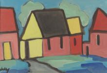 MARKEY ROBINSON (1918-1999)Colourful VillageGouache, 19 x 27.5cm (7½ x 10¾'')Signed