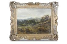DAVID BATES (1840-1921)Figures in a Rural LandscapeOil on canvas, 29.5 x 39.5cmSigned