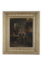 MANNER OF ADRIAEN VAN OSTADECottage interior with gentleman smoking from a meerschaum pipeOil on canvas, 38.5 x 30cm