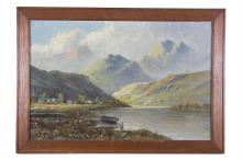 WELSH SCHOOL (20TH CENTURY)Lake and Mountain LandscapeOil on canvas, 39 x 60cmSigned indiscreetly