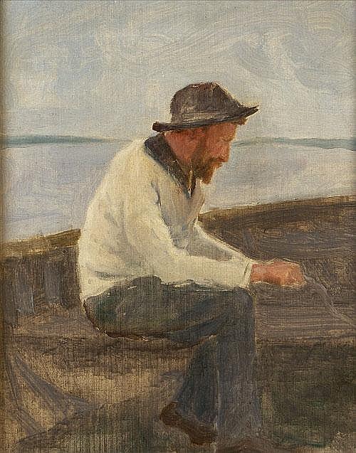 Dermod O'Brien PRHA (1865-1945) Seated Fisherman