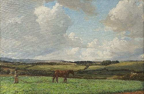 Dermod O'Brien PRHA (1865-1945) Man Ploughing a