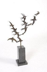 Ian Pollock (b.1975) Flight of Swallows Bronze,