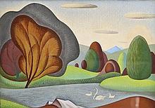 John Luke RUA (1906 -1975) Swans & Cygnets (1935)