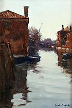 James English RHA (b.1946) On a Canal Oil on