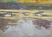 Hans Iten RUA (1874-1939) Swans Oil on canvas laid