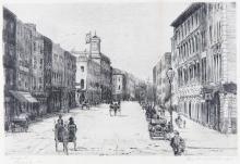 Flora Mitchell (1890-1973)George St. Limerick (1921)Pen and ink, 25 x 35cm (9¾ x 13¾'')Signed, inscribed with title and dated 1921