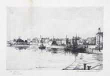 Flora Mitchell (1890-1973)The Quays, LimerickPen and ink, 25 x 33.5cm (9¾ x 13¼'')Signed, inscribed with title and dated 1921