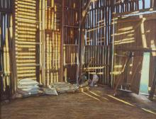 Carey Clarke PPRHA (b.1936)Patterns of Light, Tobacco Barn, Lot et Garonne, FranceTempera on gesso panel, 71 x 92cm (28 x 35¾)Signed, with artist's label verso