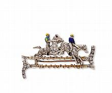 A diamond and enamel horse racing brooch, composed