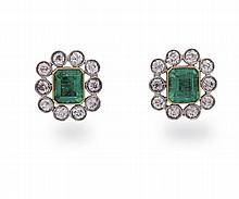 A pair of diamond and emerald earrings, each