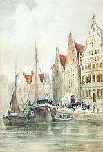 WILLIAM BINGHAM MCGUINNESS RHA (1849-1928)Docked Ships in a Continental TownWatercolour, 45.5 x 30.5cmSigned
