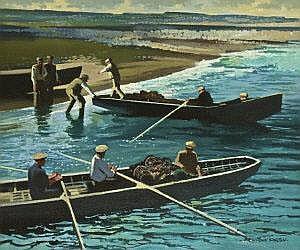 John Skelton (b.1923) Aran Lobster Men Oil on