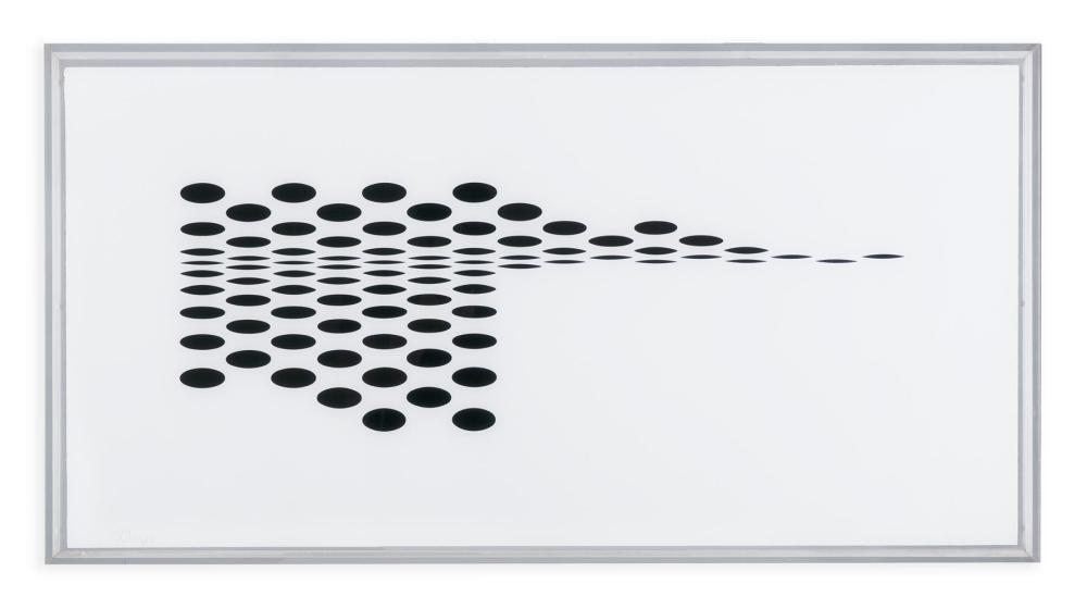 BRIDGET RILEY (b.1931) Untitled (Fragment 7) Screenprint in black and white on plexiglass, 48.3 x 96.5cm Signed and dated (19)'65; edition 59/75 Provenance: From the collection of Michael Scott Michael Scott (1905 – 1989), described a