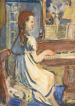 May Guinness (1863-1955) At the Piano Pencil,