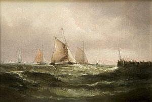 Matthew Kendrick RHA (1797-1874) Yachts off a Pier