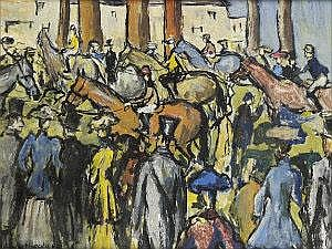 Gladys MacCabe HRUA (b.1918) Race Day Oil on