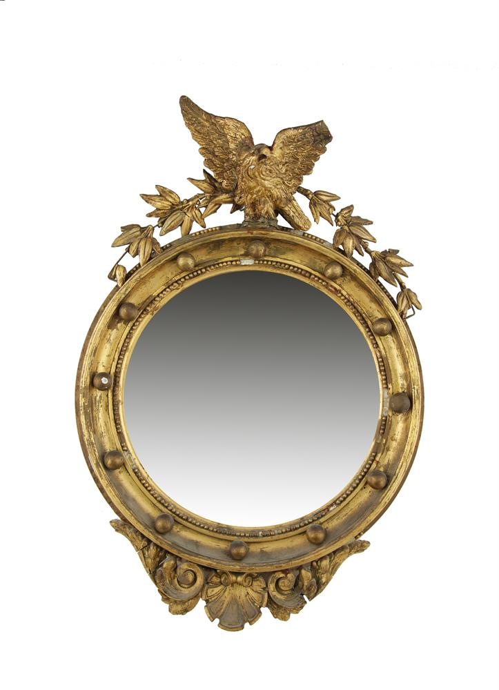 A small 19th century giltwood and gesso convex wall mirror for Mirror 60cm wide