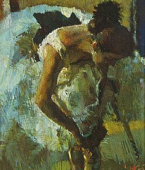 Mark Rowbotham (b.1959) Tying her Shoes Pastel, 41