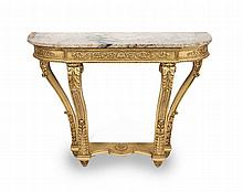 A FRENCH GILTWOOD AND GESSO, MARBLE TOP CONSOLE
