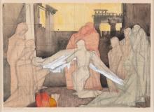 Maurice MacGonigal PRHA (1900-1979) The Entombment Watercolour, 16 x 23cm (6 x 9) Signed and inscribed